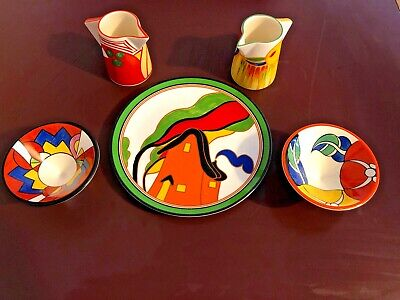 Clarice Cliff Bizarre Range Bundle Of X1 Plate, X2 Bowls & X2 Jugs By Wedgwood • 119.99£