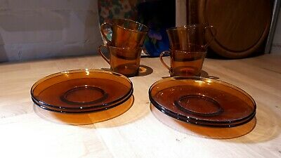 Vintage Retro Smoked Brown Glass Set Of 4 Tea Or Coffee Cups Saucers By Duralex • 16£