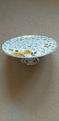 Old Foley James Kent Staffordshire Cake /Sandwich Plate Yellow Roses With Stand. • 6£