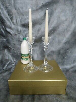 A Lovely Pair Of Unused Boxed Essence Lead Crystal Candlesticks By Rcr  • 20£