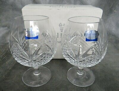 A Lovely Unused Pair Of Royal Doulton Crystal Ascot Schooner Brandy Glasses • 15£