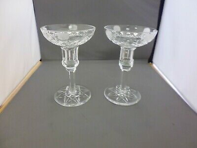 A Pair Of Tyrone Crystal Cut Glass Candlesticks - 6  Tall                (TR) • 18£