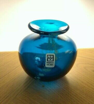 Mdina Dark Blue Sea And Sand Vase Labelled And Signed • 15.99£