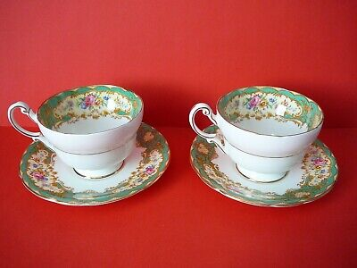 Vintage China Paragon Pompadour Green Larger Size Cup And Saucer X 2 • 25£