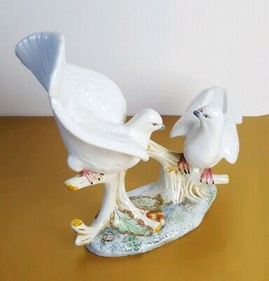 2 White Dove Birds On A Branch Hand Painted Studio Pottery Figurine Ornament • 14.99£