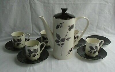 Lord Nelson Pottery Coffee Set Black Rose Coffee Pot & Lid 5 Cups 6 Black Saucer • 34.99£