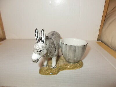 Grey/white Donkey With Egg Cup On A Base, Stamped Q On Underside Base,see Photos • 6.50£