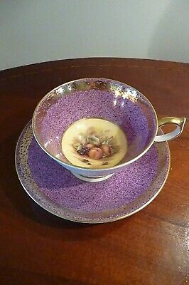 Vintage Aynsley ~ Orchard Gold ~ Purple  Cabinet Tea Cup & Saucer ~ VGC • 34.99£