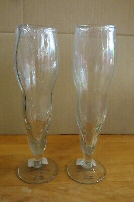 2 X Anthropologie Orla Clear Glass Hand Blown Wine Flutes Glasses • 8.99£
