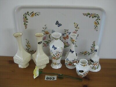 Aynsley China Job Lot Aynsley Cottage Garden Bell Vase Tray Yellow Rose  • 24.99£