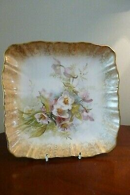Victorian Doulton Burslem Scalloped Floral Footed Square Dish Reg No.72067      • 34.99£