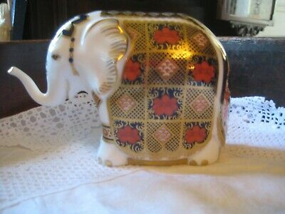 Royal Crown Derby Imari Indian Elephant Paperweight 10 Cm High • 89.99£