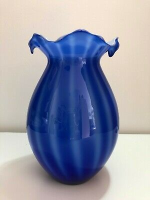 COBALT BLUE AND WHITE ART GLASS VASE With Petal Rim 22.5cm High • 1.99£