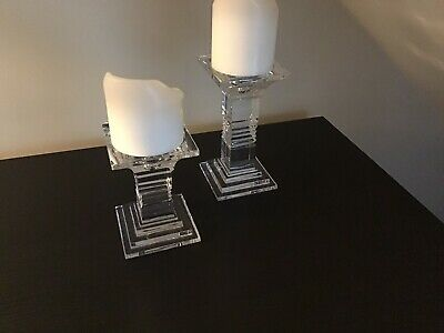 Pair Of Galway Crystal Candle Sticks In Excellent Condition • 35£