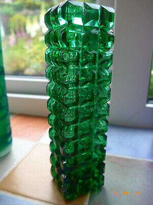 Unusual Small Dark Green Flattened Hobnail Glass Molded Vase- 7  H X 2  Square • 5£