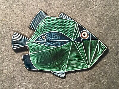 Poole Pottery Abstract/Geometric Plaque, Fish In Fish By Robert Jefferson, 1960s • 43.50£