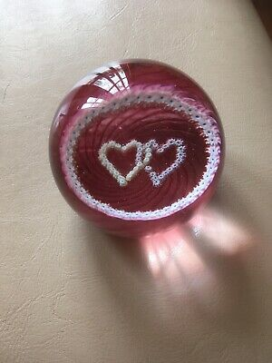 Ruby Wedding Caithness Glass? Red Paperweight Hearts • 3.50£
