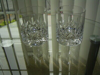 2 Good Quality Lead Crystal Cut Whisky Glasses  • 14.99£