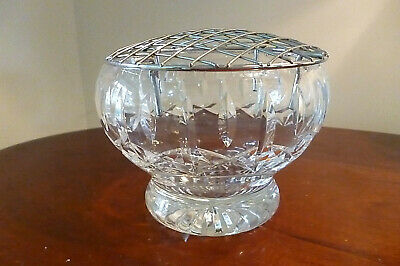 Lovely Vintage Royal Brierley Lead Crystal Footed Rose Bowl With Chrome Frog • 14.99£