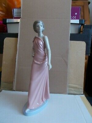 Lladro Nao Hand Made In Spain 1994 31cm High Elegant Lady In Pink Toga  Dress • 24.99£