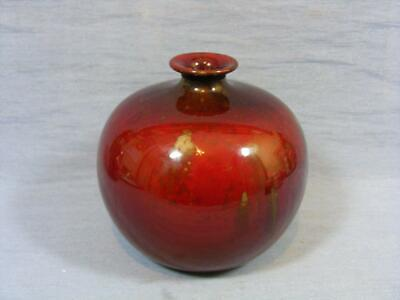 EDWARD R WILKES / A J  WILKINSON ARTS CRAFTS POTTERY FLAMBE BULBOUS VASE  C1910 • 19.95£