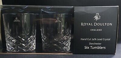 6 X Royal Doulton DORCHESTER Whiskey Glass Tumblers 10cms (4 ) Boxed • 70£