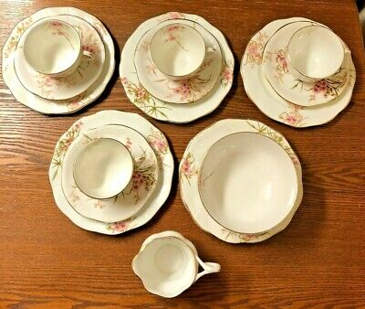 Crown Staffordshire Tea Set 17 Piece White With Pink Floral Design • 20£
