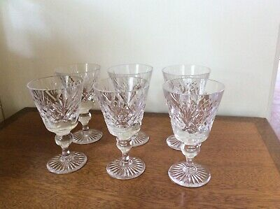 Beautiful Vintage Cut Glass Wine Glasses - 12cm Tall - Set Of 6 • 5.95£