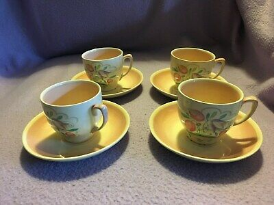 Susie Cooper Coffee Cups & Saucers X4 In Pink Dresden Pattern • 52£