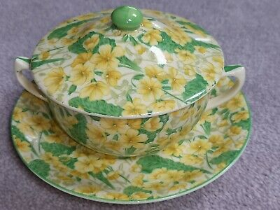 A Gorgeous And Rare Crown Ducal Chintz Primrose Pattern Covered Cup And Saucer. • 5£