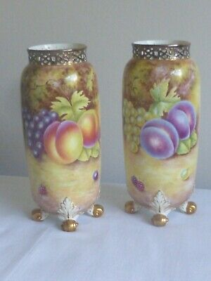 Large Pair Of Royal Worcester Painted Fruit Vases; By Leaman • 310£