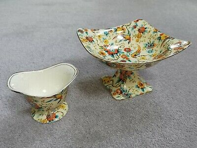 Two Striking Pieces Of Royal Winton Grimwades Exotic Bird One Pedestal Bowl And  • 6£