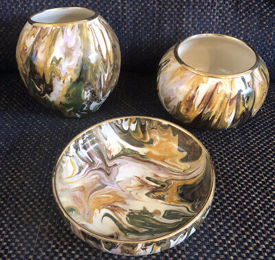 Martin Pettinger Pottery Studio Somerset. Dragonfly Mark. 3x Marbled Pottery. • 35£