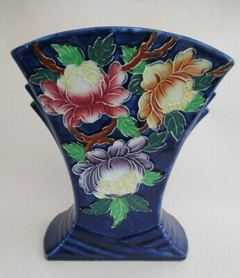 Vintage Maling Ware Cobalt Blue With Peony Flowers Fluted Vase • 16£
