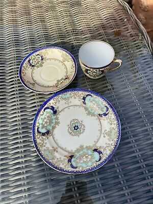 Meito China Hand Painted Tea Cup, Saucer & Side Plate • 10£