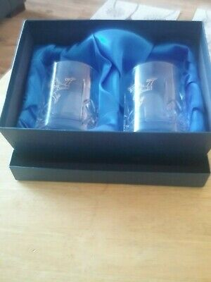 Crystal Bohemia Czechia Pair Of Boxed Tumblers With Manx Engraving • 12£
