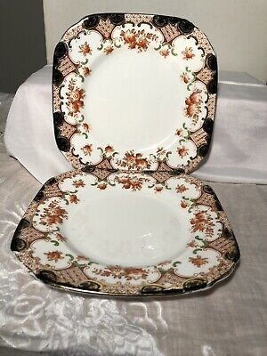 "2 X Vintage Sutherland China Cake / Tea / Side Plates Art Decco 6.5x6.5 "" • 2.30£"
