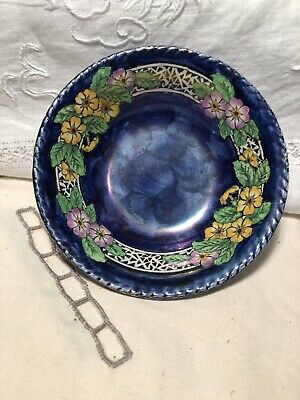 """Vintage  Small Maling  Blue  Lustre Thumbprint Plate. 4.5"""" In Diam • 3.50£"""