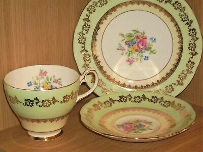 Gladstone Trio (cup Saucer And Tea Plate) With Floral Pattern • 4£