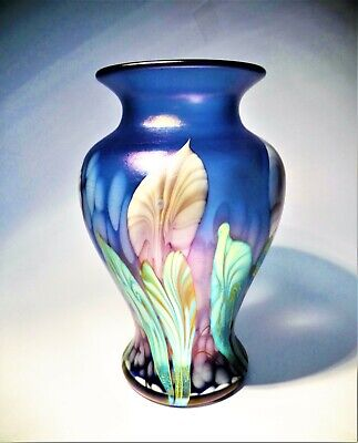 Boxed And Signed D Barras Okra Iridescent Art Glass Vase  • 165£