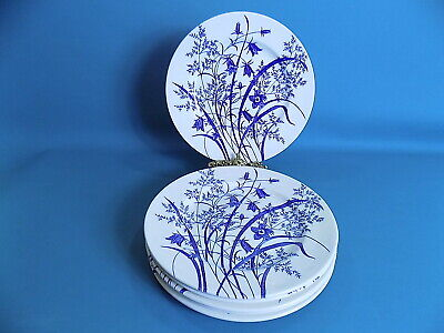 English Ironstone Tableware White / Blue Floral Dinner Plates X 2 • 18£