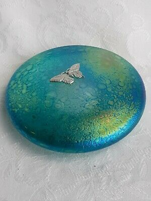 Green Disc Paperweight With Pewter Butterfly Etched On Base  Heron Glass  - Gift • 32£