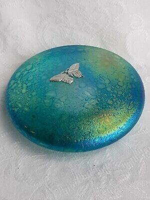 Green Disc Paperweight With Pewter Dragonfly Etched On Base  Heron Glass  - Gift • 32£