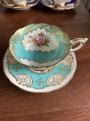 Royal Stafford Turquoise And Gold Teacup And Saucer • 30£
