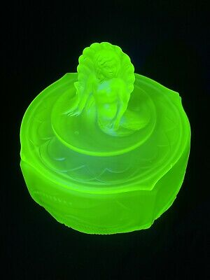 Large,Art Deco, Walther, Uranium Glass, Nymphen, Trinket Pot, Mermaid • 20£