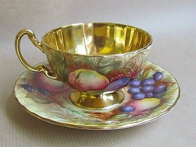 AYNSLEY CHINA ORCHARD GOLD FOOTED CUP & SAUCER SIGNED BRUNT (Ref5615) • 69.50£