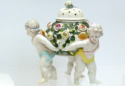 Antique Early German Sitzendorf Porcelain Bowl With Cherubs And Flowers C1890 -  • 290£