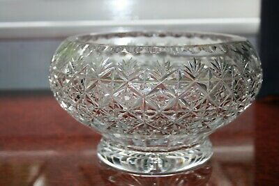A Thomas Webb Crystal 8  Wide Footed Rose Bowl, Wellington Design Good Used Cond • 40£