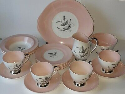 Queen Anne 'Pink Harvest' Bone China 22pc Tea Set Cups/Saucers/Plate/Jug/Platter • 50£