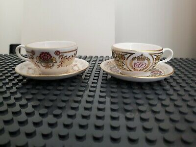 2 X Stunning Vintage Spode Miniature Tea Cups And Saucers Royal Themed  • 8.99£